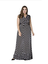 cheap -sweet curve Women's Beach Boho Swing Dress - Polka Dot Pleated Maxi V Neck
