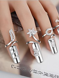 cheap -Women's Statement Rings Nail Finger Rings Unique Design Fashion Costume Jewelry Personalized Silver Plated Flower Jewelry (Random)
