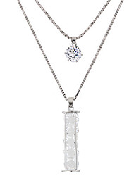 cheap -Women's Rhinestone Pendant Necklace - Fashion Double-layer Round Necklace For Party Daily