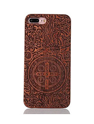 For Shockproof Embossed Pattern Case Back Cover Case Constantine Hard Rosewood and PC Combination for Apple iPhone 7 7 Plus 6s 6 Plus SE 5s 5