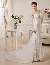 cheap -Sheath / Column Plunging Neckline Court Train Lace Satin Tulle Wedding Dress with Beading Lace by LAN TING BRIDE®