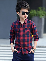 cheap -Boys' Daily Plaid Shirt, Cotton Rayon Spring Long Sleeves Gray Red Green