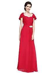 cheap -Sheath / Column Off Shoulder Floor Length Chiffon Mother of the Bride Dress with Ruched Crystal Brooch Criss Cross by LAN TING BRIDE®