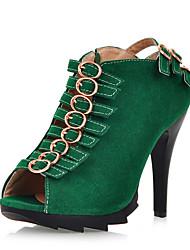 cheap -Women's Leatherette Summer Club Shoes Heels Stiletto Heel Peep Toe Buckle Black / Green / Blue