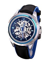 Недорогие -Муж. Модные часы Часы со скелетом Механические часы Кожа Черный / Серебристый металл / Аналоговый Роскошь На каждый день - Серебряный Красный Синий