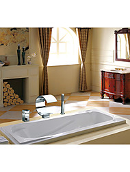 Contemporary Art Deco/Retro Modern Widespread Waterfall Ceramic Valve Single Handle Three Holes Chrome , Bathtub Faucet