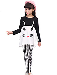 cheap -Girls' Daily Going out Striped Patchwork Clothing Set,Cotton Spring Fall Long Sleeve Cartoon Stripes Black Pink