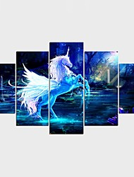 Framed Art Print Animal Fantasy Modern Classic,Five Panels Canvas Any Shape Print Wall Decor For Home Decoration