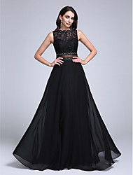 A-Line Bateau Neck Floor Length Chiffon Lace Formal Evening Dress with Beading Appliques Lace by TS Couture®