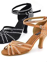 cheap -Women's Latin Jazz Swing Shoes Salsa Leatherette Sandal Heel Indoor Performance Professional Beginner Practice Rhinestone Sequin Buckle