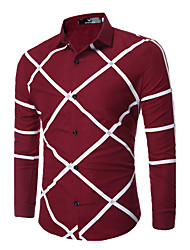 Недорогие -Муж. Рубашка Классический воротник Тонкие Деловые На каждый день Уличный стиль Геометрический принт Черное и белое
