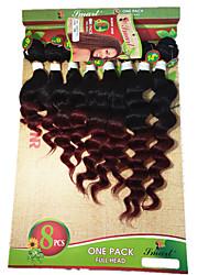8-14inch 8 pcs /lot Brazilian loose wave ombre burgundy Virgin Hair Brazilian Virgin Hair loose wave Hair Weave Bundles cheap human hair