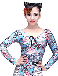 baratos -Dança Latina Blusas Mulheres Espetáculo Elastano Náilon Chinês Estampa Manga Longa Caído Blusa