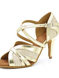 Women's Latin Jazz Salsa Swing Shoes Leatherette Sandal Heel Practice Beginner Professional Indoor Performance Sequin Buckle Customized