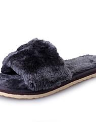 Feminino-Chinelos e flip-flopsRasteiro-Preto Cinzento Fúcsia Roxo Claro Azul-Pele de Carneiro-Casual