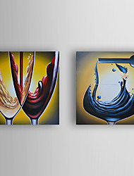 Hand-Painted  Red Wine Still Life Set of 2 Canvas Oil Painting With Stretcher For Home Decoration Ready to Hang