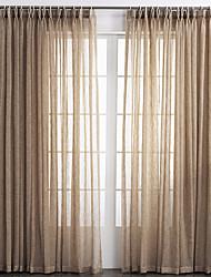 baratos -Sheer Curtains Shades Sala de Estar Sólido Mistura de Linho e Poliéster
