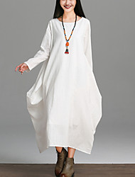 Women's Going out Chinoiserie Loose Dress Solid Round Neck Midi Long Sleeve Cotton /Linen Blue /Red /White Spring /Fall