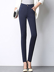 Women's Plus Size OL Style Business Trousers Skinny Business Pants Work Simple Solid High Rise Zipper Stretchy All Seasons