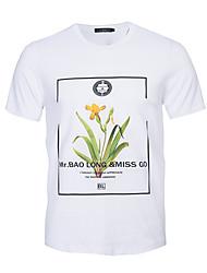 Masculino Camiseta Casual Esportivo Férias Simples Moda de Rua Activo Primavera Verão,Estampado Colorido Algodão Decote RedondoManga