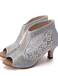 cheap -Women's Latin Jazz Modern Dance Boots Swing Shoes Lace Sparkling Glitter Sandal Heel Indoor Performance Professional Beginner Practice