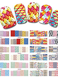cheap -12 Sheets/Set New Latest Winter Designs Sweater Material Nail Sticker Colorful Full Tips Wraps for Water Decals BN517-528