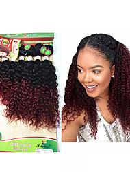 Недорогие -8 Связок Бразильские волосы Kinky Curly Крупные кудри Не подвергавшиеся окрашиванию Омбре 8-14 дюймовый Омбре Ткет человеческих волос Расширения человеческих волос / 10A