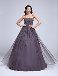 Ball Gown Strapless Floor Length Tulle Prom Dress with Beading Appliques Flower(s) by TS Couture®