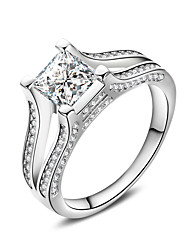 cheap -New Luxurious AAA Zircon 925 Sterling Silver Wedding Engagement Ring Clear Fine Jewelry