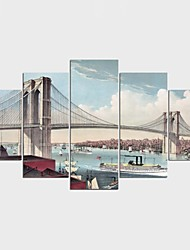 Stretched Canvas Print Landscape Cartoon Classic,Five Panels Canvas Any Shape Print Wall Decor For Home Decoration