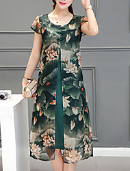 Women's Plus Size Going out Vintage Loose Dress,Print Round Neck Midi Short Sleeve Polyester Green Summer Mid Rise Micro-elastic