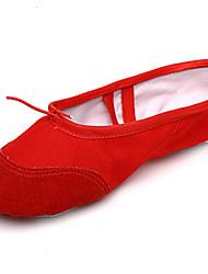"cheap -Women's Ballet Suede Fabric Full Sole Practice Beginner Indoor Outdoor Performance Flat Heel Black Red Blushing Pink Under 1"" 1"" - 1 3/4"""