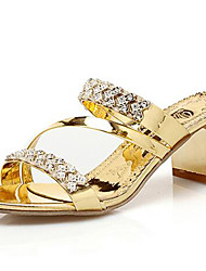 cheap -Women's Shoes Synthetic Spring Summer Gladiator Sandals Chunky Heel Rhinestone for Casual Party & Evening Office & Career Dress Gold