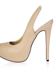 cheap -Women's Shoes PU Spring Summer Slingback Heels Stiletto Heel Round Toe for Office & Career Dress Black Nude