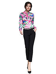 Feminino Camisa Social Casual Trabalho Temática Asiática Primavera Verão,Estampado Colorido Algodão Colarinho de Camisa Manga Longa Fina
