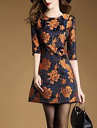 Courte Robe Femme Sortie Sophistiqué,Jacquard Col Arrondi Au dessus du genou Manches ¾ Jaune Polyester Printemps Taille Normale