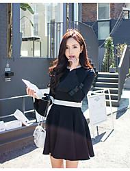 Han Guoguan network new winter temperament ladies small fragrant wind bow waist dress bottoming skirt