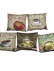 "cheap -Set of 5  Coffee Retro Style 5 Designs Printed Throw  Creative Decoration Pillow Cover(18""*18"")"