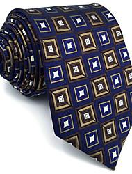 cheap -B20 Men Ties Navy Blue Checked 100% Silk Business New Fashion Wedding Dress For Men
