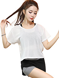 cheap -Women's Running T-Shirt Short Sleeves Quick Dry Breathable Top for Yoga Exercise & Fitness Running Modal Polyester Mesh/Net Slim White