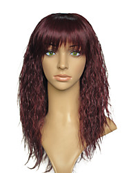 Kinky Curly Synthetic Wigs With Neat Bangs Heat Resistant Women Party Wig Hairstyle With Cap