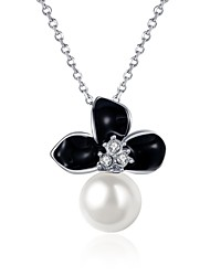 Femme Pendentif de collier Zircon cubique Forme de Fleur Imitation de perle Zircon Plaqué argent Plaqué or Plaqué Or Rose AlliageOriginal