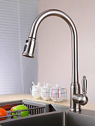 cheap -Contemporary Standard Spout Vessel Pullout Spray Ceramic Valve Single Handle One Hole Nickel Brushed, Kitchen faucet