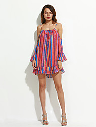 Women's Beach Holiday Boho Loose Chiffon Dress,Striped Off Shoulder Mini Long Sleeves Polyester Summer Mid Rise Micro-elastic