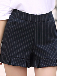 Women's Fine Stripe Plus Size Straight Wide Leg Chinos Shorts Pants,Going out Casual/Daily Simple Cute Striped Pleated High Rise Zipper Polyester