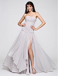 A-Line Strapless Sweep / Brush Train Chiffon Formal Evening Dress with Criss Cross Ruching by TS Couture®