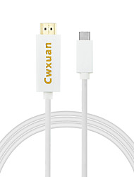 baratos -cwxuan® usb 3.1 usb-c tipo C para cabo HDMI adaptador para novo MacBook chromebook lumia 950 xl etc