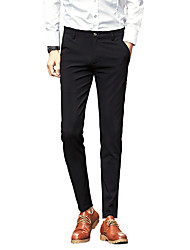 Men's Low Rise Micro-elastic Chinos Business Pants,Street chic Straight Slim Solid