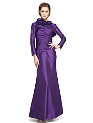 cheap -Mermaid / Trumpet High Neck Ankle Length Taffeta Mother of the Bride Dress with Pleats Flower by LAN TING BRIDE®