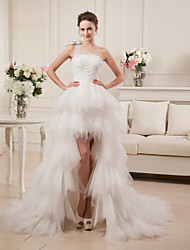 cheap -A-Line One Shoulder Asymmetrical Satin Tulle Wedding Dress with Beading Tiered by LAN TING BRIDE®